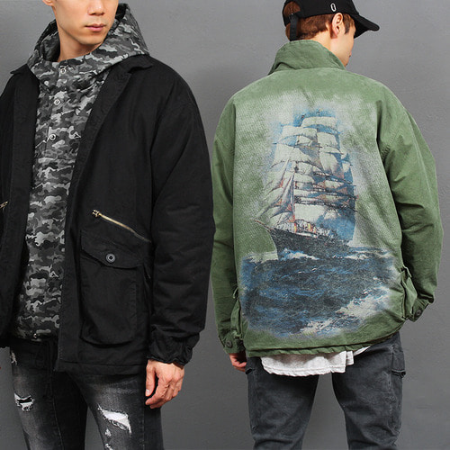 Vintage Washed Multi Cargo Pocket Ship Printing Jacket