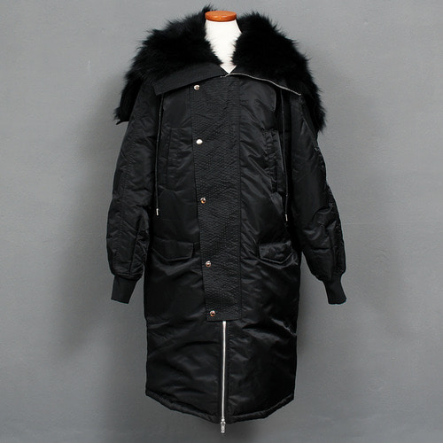 Split Zippered Black Fur Hood Duck Down Long Parka