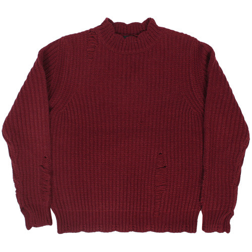 Half Neck Vintage Distressed Knit Jumper