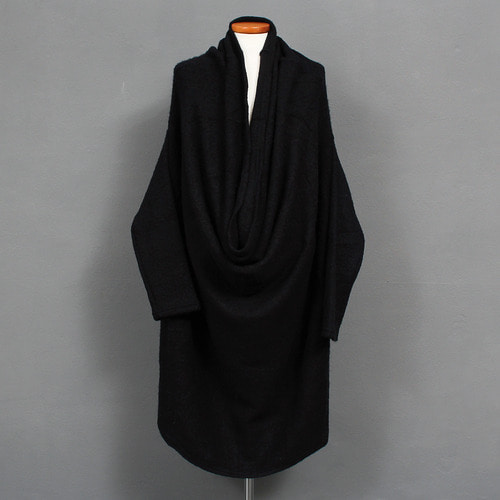 Avant garde Draped Shawl Neck Long Wool Knit Jumper