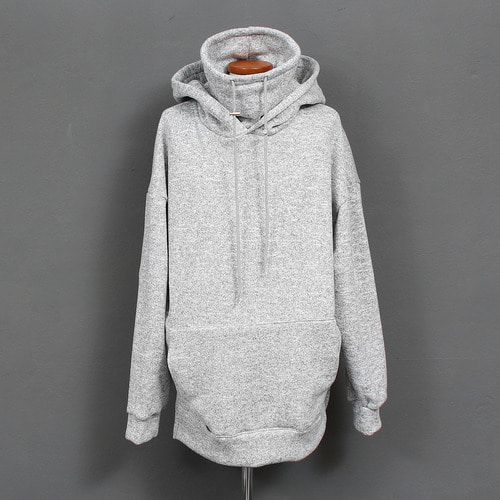 High Turtle Neck Split Side Fleece Knit Hoodie