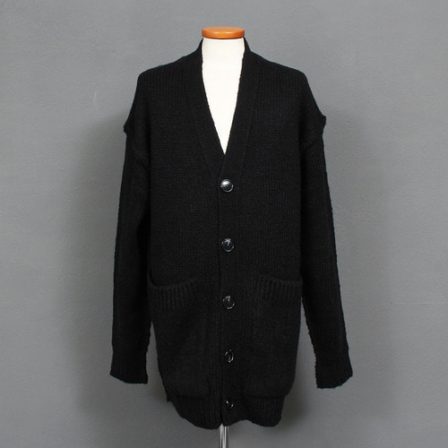 Loose Fit Button Up Big Pocket Color Knit Cardigan
