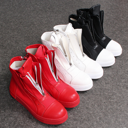 Double Layered Zip Up High Top Zipper Sneakers A071