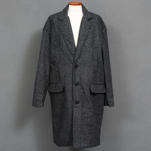 Loose Fit Over Sized Bocashi Pattern Wool Long Coat