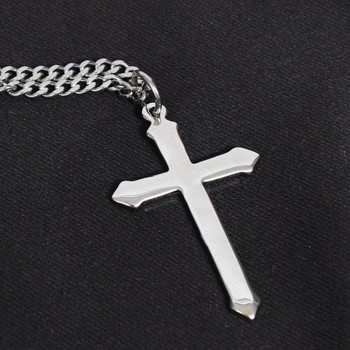 Silver Tone Matte Steel Cross Chain Necklace N79