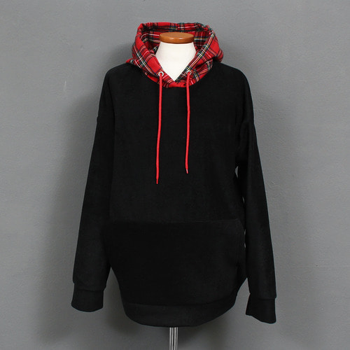 Loose Fit Fleece Big Pocket Checkered Pattern Hoodie