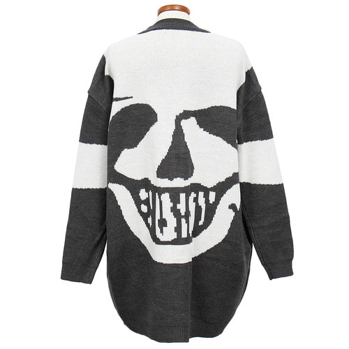 Loose Fit Skull Back Button Up Knit Long Cardigan
