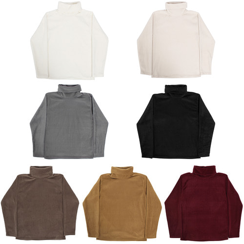 Fleece High Neck Basic Tee