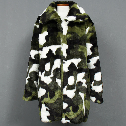 Camouflage Pattern Fluffy Fur Long Coat