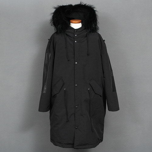 Removable Raccoon Fur Hood Black Patch Long Down Parka