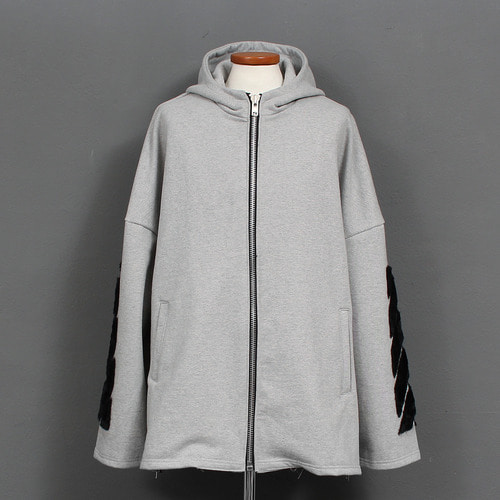 Over Loose Fit Velvet Styling Zip Up Hoodie
