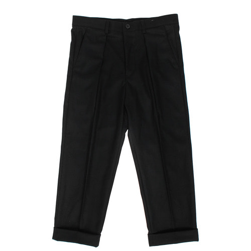 Pleated Rolled Up Winter Wide Pants