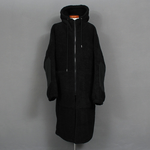 Loose Fit Fluffy Fleece Zip Up Hooded Long Coat