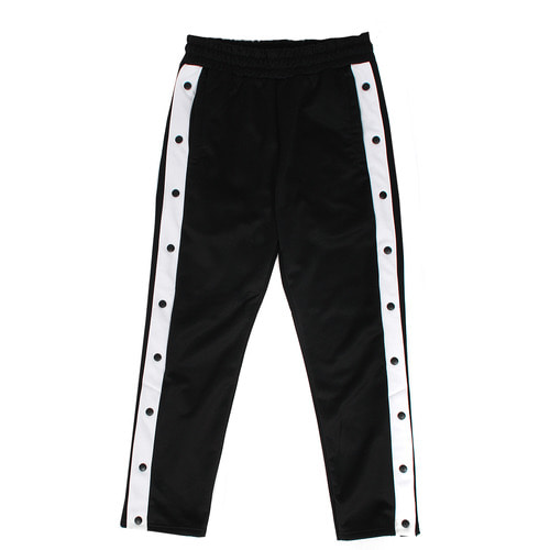 Contrast Color Side Snap Button Split Hem Track Pants