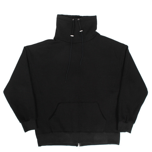 Turtle Neck Back Zipper Split Side Fleece Sweatshirt