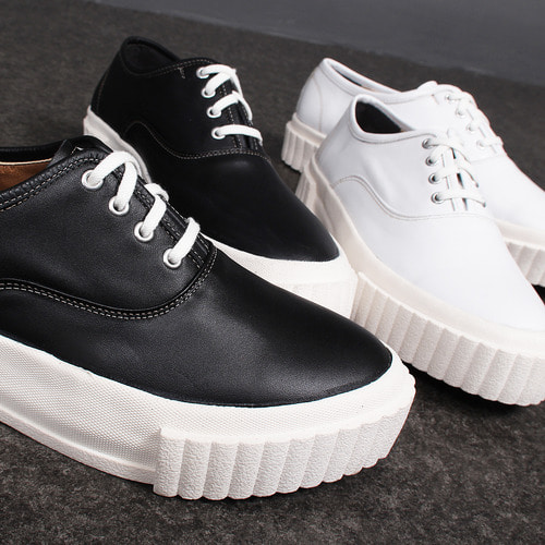 High Sole Lace Up Leather Sneakers 412
