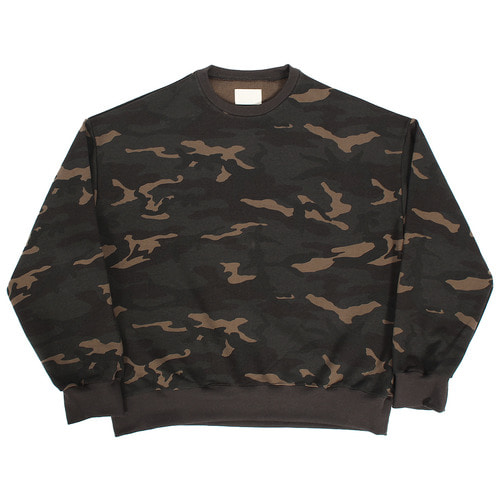 Loose Fit Military Camouflage Boxy Sweatshirt