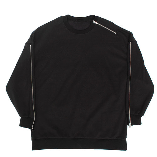Zippered Shoulder Sleeve Interior Fleece Boxy Sweatshirt