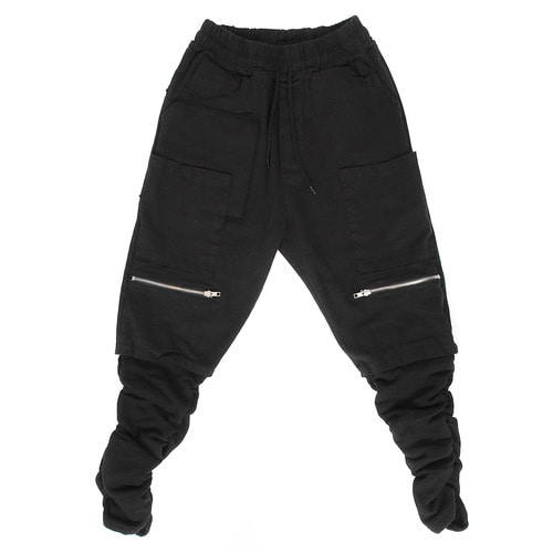 Vintage Big Pocket Zipper Styling Shirring Leg Sweatpants