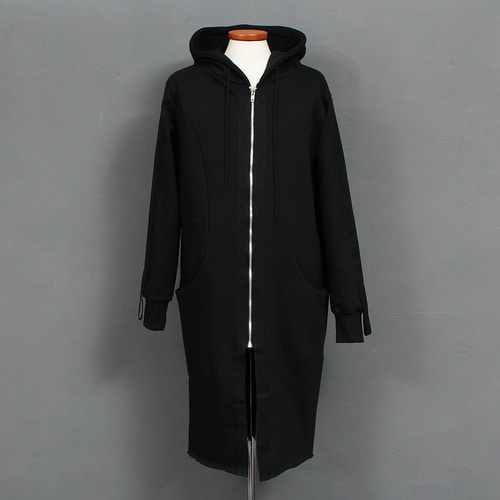 Sleeve Webbing Strap Long Zip Up Black Hoodie