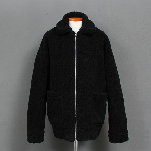 Fluffy Fur Shearling Fleece Zip Up Boxy Jacket