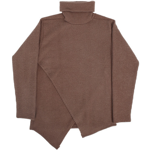 Fleece Corduroy V Layered Diagonal Hem High Neck Tee