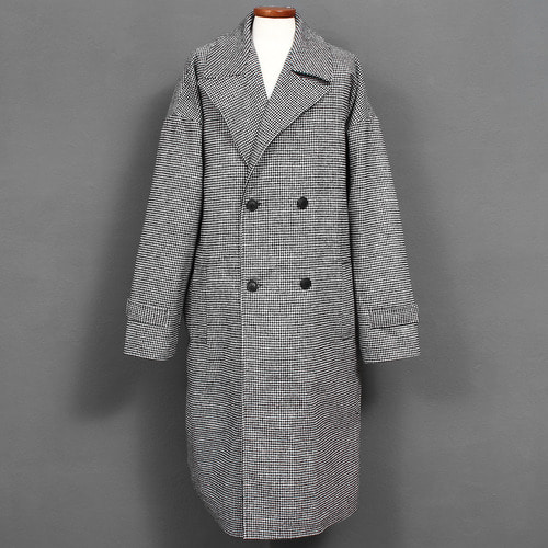 Big Over Sized Hound Tooth Check Double Button Wool Long Coat