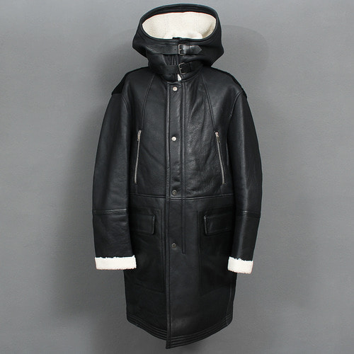 Layered High Neck Shearling Lambskin Leather Hooded Long Coat
