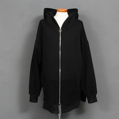 Contrast Herringbone Pattern Pocket Split Side Boxy Zip Up Hoodie