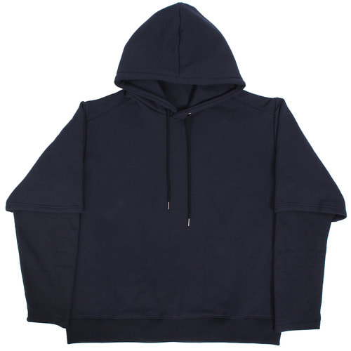 Layered High Neck Sleeve Fleece Interior Hoodie