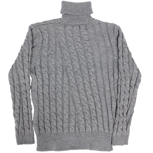 High Neck Slim Fit Diagonal Cable Knit Jumper 702