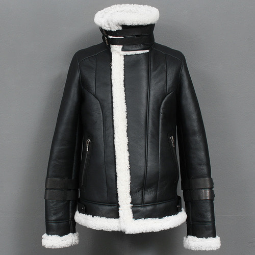 Double Collar Shearling Fluffy Lamb Leather Rider Jacket