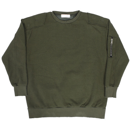 Vintage Reinforced Shoulder Zipper Pocket Sweatshirt