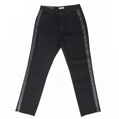 Contrast Side Lather Line Black Straight Jeans 2206
