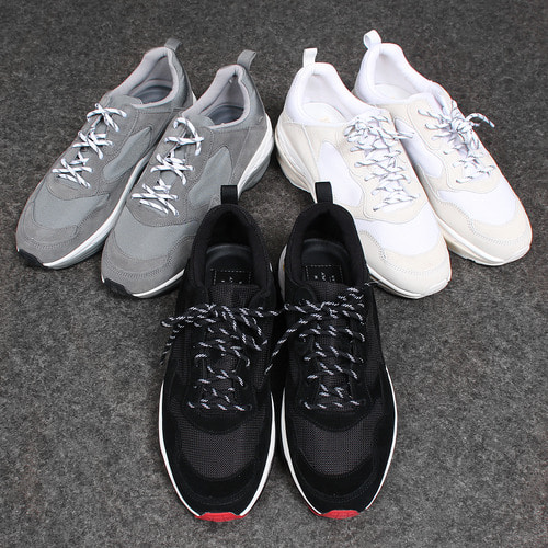 Mesh Suede Combi Lace Up Runner Sneakers
