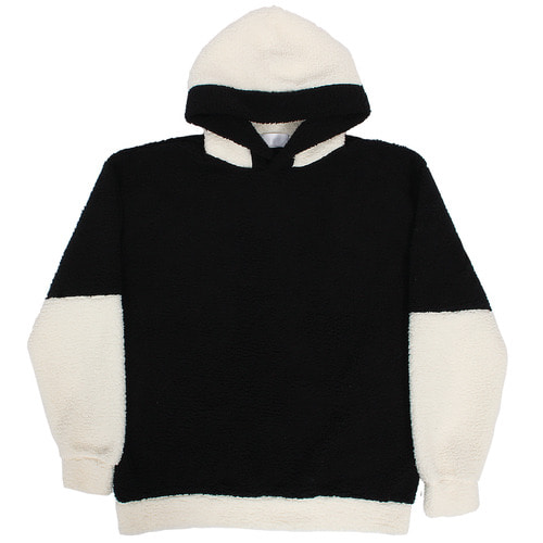 Fluffy Synthetic Fur Fleece Contrast Color Hoodie