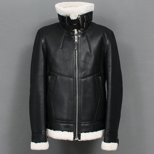 Double Belt Shearling Fluffy Lamb Leather Rider Jacket