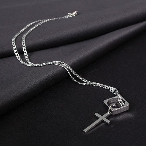 Surgical Stainless Steel Cross Square Ring Necklace N81