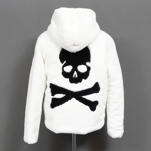 Gothic All Fluffy Fur Skull Logo Hooded Slim Jacket