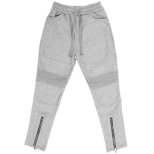 Front Zipper Seaming Ribbed Paneling Slim Sweatpants