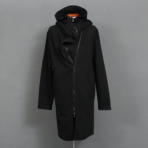 Avant garde Layered Double Zipper Long Hoodie