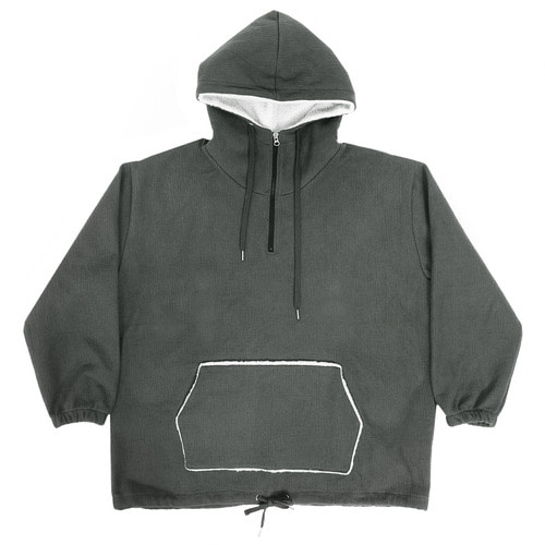 Loose Fit Zip Up Boxy Anorak Fluffy Hoodie