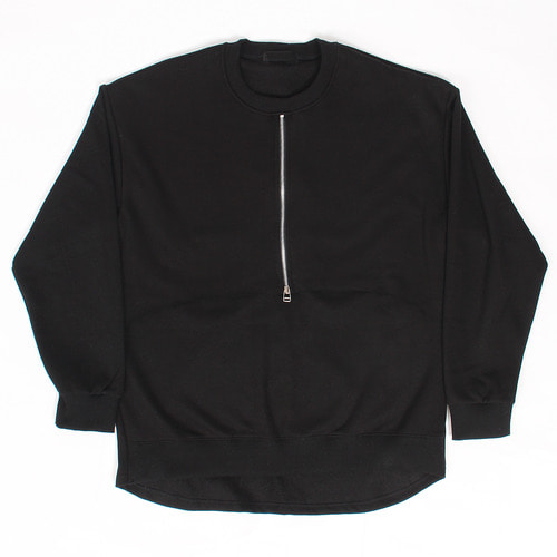 Layered Zip Up Fleece Interior Black Sweatshirt