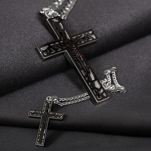 Lazer Cut Jesus Cross Surgical Stainless Steel Necklace N82