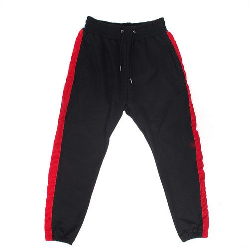 Contrast Side Color Velvet Semi Baggy Jogger Pants