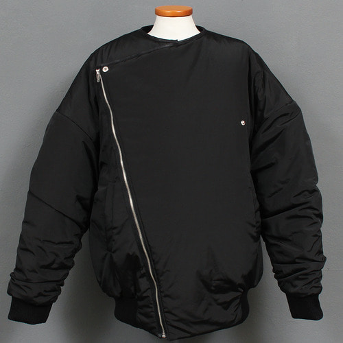 Loose Fit Diagonal Zipper Puffa Bomber Jacket