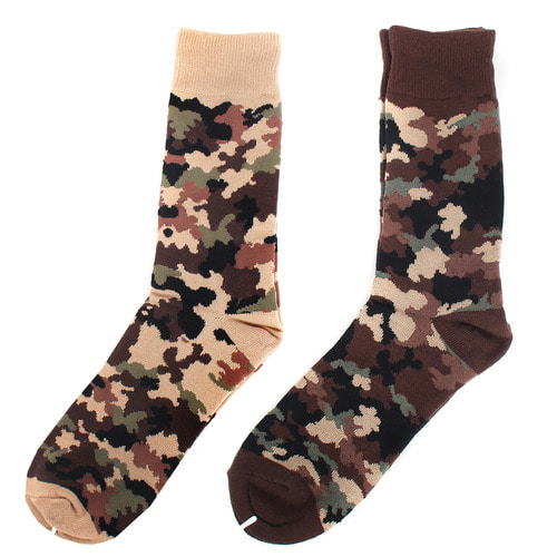 Military Look Camouflage Pattern 2 Color Cotton Spandex Socks S2