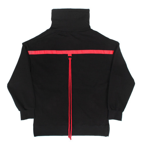 High Turtle Neck Back Red Strap Split Side Sweatshirt