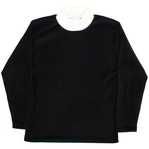 Contrast Color Corduroy High Neck Fleece Tee