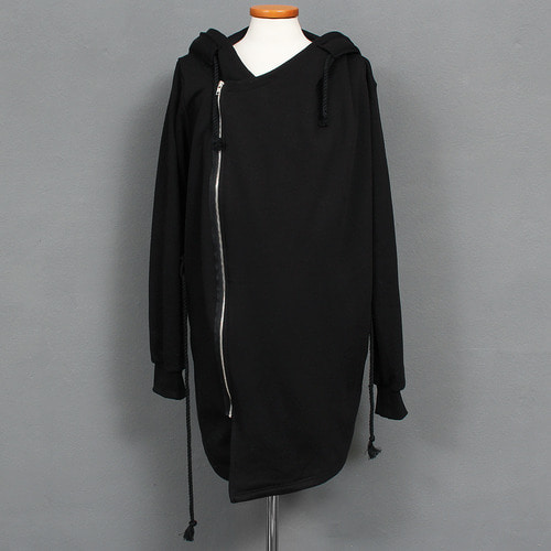 Vintage Rope Strap Unbalanced Shawl Zip Up Hoodie
